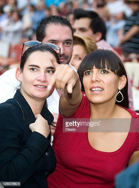 Ana Cristina Fox is seen with a friend during a bull fighting as part of the 17th race of the Temporada Grande 20102011 at Plaza de Toros on February...