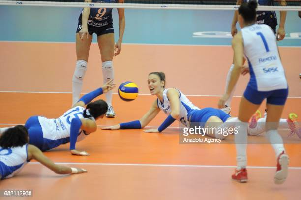 Ana Da Silva and Monique Pavao of RexonaSesc in action during the pool match of the FIVB Womens Club World Championship Day 3 between Dinamo Moscow...