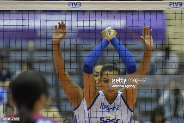 Ana Da Silva of RexonaSesc in action during the pool match of the FIVB Womens Club World Championship Day 1 between Hisamitsu Spring and RexonaSesc...