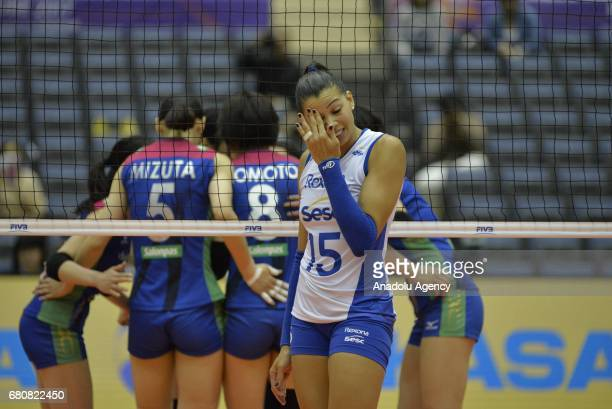 Ana Da Silva of RexonaSesc reacts during the pool match of the FIVB Womens Club World Championship Day 1 between Hisamitsu Spring and RexonaSesc at...