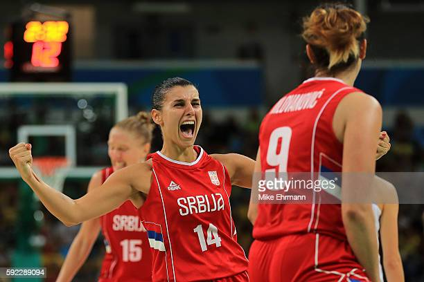 Ana Dabovic of Serbia reacts during the Women's Bronze Medal basketball game between France and Serbia on Day 15 of the Rio 2016 Olympic Games at...