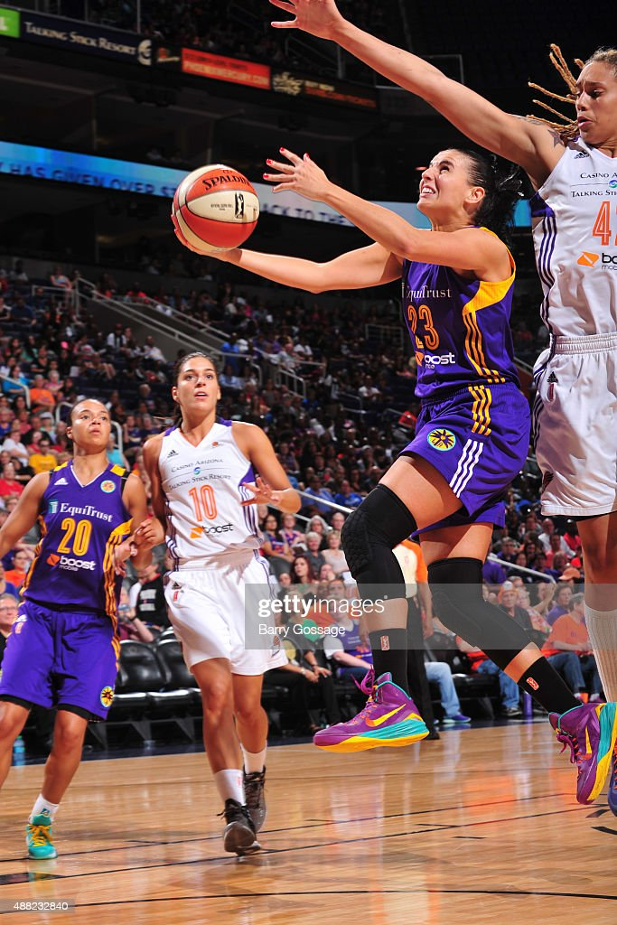 Ana Dabovic #23 of the Los Angeles Sparks drives to the basket against the Phoenix Mercury on September 11, 2015 at the US Airways Center in Phoenix, Arizona.