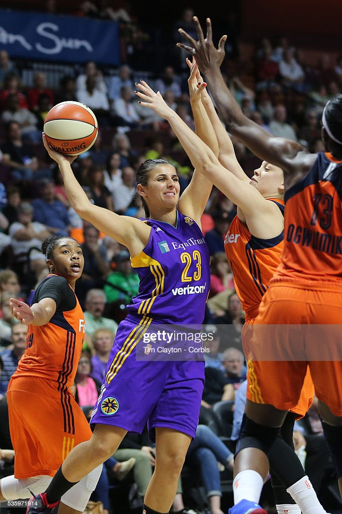 Ana Dabovic #23 of the Los Angeles Sparks in action during the Los Angeles Sparks Vs Connecticut Sun, WNBA regular season game at Mohegan Sun Arena on May 26, 2016 in Uncasville, Connecticut.