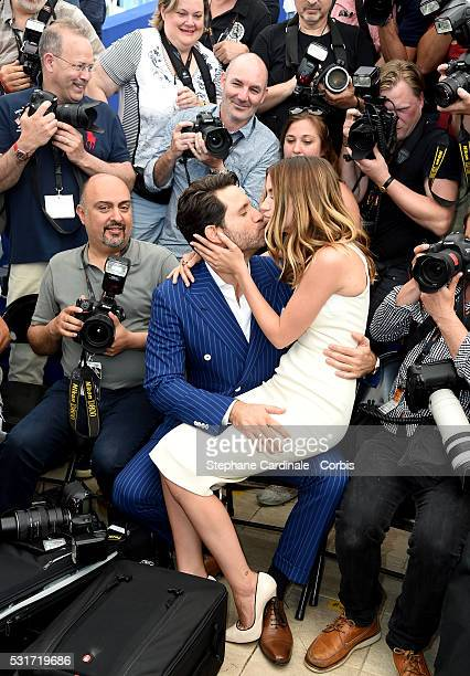 Ana de Armas and Edgar Ramirez embrace during the 'Hands Of Stone' photocall during the 69th annual Cannes Film Festival at the Palais des Festivals...