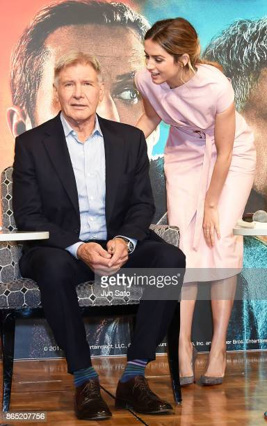 Ana de Armas and Harrison Ford attend the 'Blade Runner 2049' press confrence at the RitzCarlton on October 23 2017 in Tokyo Japan