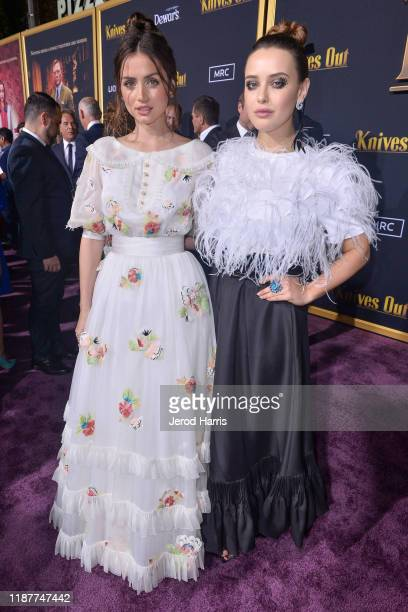 Ana de Armas and Katherine Langford arrive at the Premiere of Lionsgate's 'Knives Out' at Regency Village Theatre on November 14, 2019 in Westwood,...