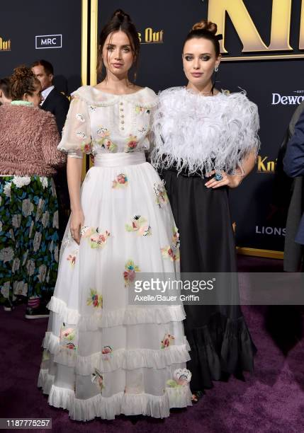 Ana de Armas and Katherine Langford attend the Premiere of Lionsgate's Knives Out at Regency Village Theatre on November 14 2019 in Westwood...