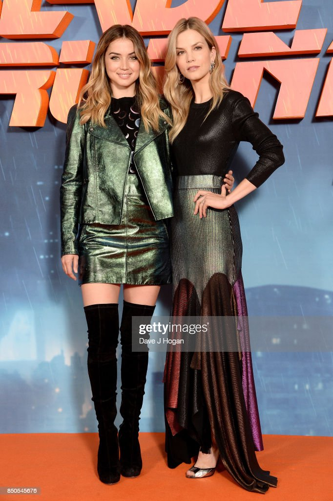 Ana de Armas (L) and Sylvia Hoeks attend the 'Blade Runner 2049' photocall at The Corinthia Hotel on September 21, 2017 in London, England.