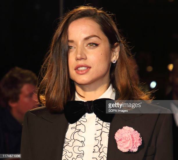Ana de Armas attends The BFI 63rd London Film Festival, American Express Gala screening of 'Knives Out held at the Odeon Luxe, Leicester Square in...