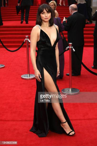 """Ana de Armas attends the """"No Time To Die"""" World Premiere at Royal Albert Hall on September 28, 2021 in London, England."""