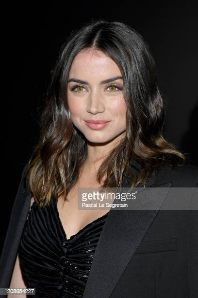 Ana de Armas attends the Saint Laurent show as part of the Paris Fashion Week Womenswear Fall/Winter 2020/2021 on February 25 2020 in Paris France
