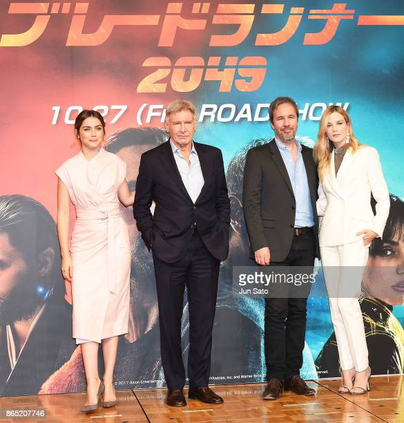 Ana de Armas Harrison Ford director Denis Villeneuve and Sylvia Hoeks attend the 'Blade Runner 2049' press confrence at the RitzCarlton on October 23...