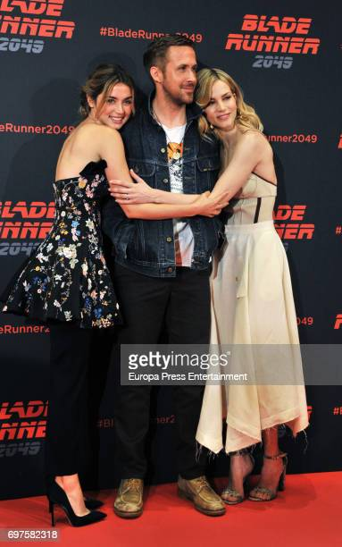 Ana de Armas Ryan Gosling and Sylvia Hoeks attend 'Blade Runner 2049' photocall during at Arts Hotel on June 19 2017 in Barcelona Spain
