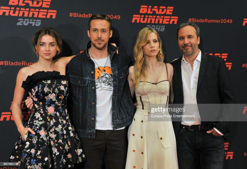 Ana de Armas, Ryan Gosling, Sylvia Hoeks and Denis Villeneuve attend 'Blade Runner 2049' photocall during at Arts Hotel on June 19, 2017 in Barcelona, Spain.