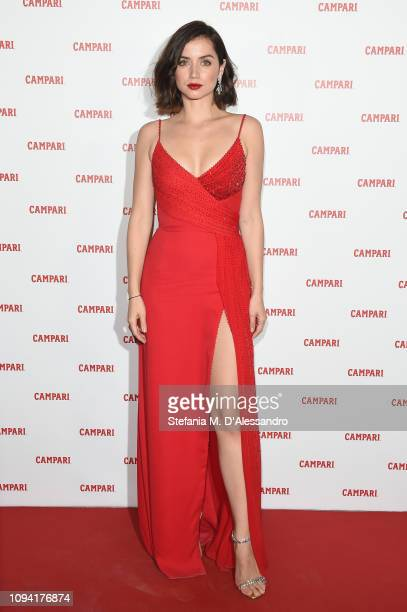 Ana de Armas wearing Versace dress Jimmy Choo heels Norman Silverman diamond earrings and Tyler Ellis clutch attends Campari Red Diaries 2019...