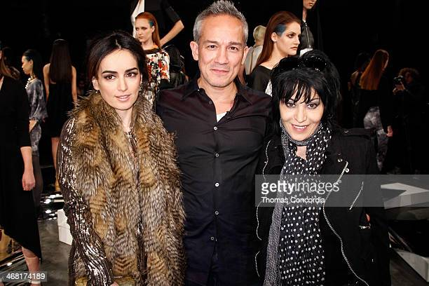 Ana de la Reguera Cesar Galindo and Joan Jet pose for a photo during the CZAR by Cesar Galindo Fall 2014 Fashion Presentation at The Hub at The...