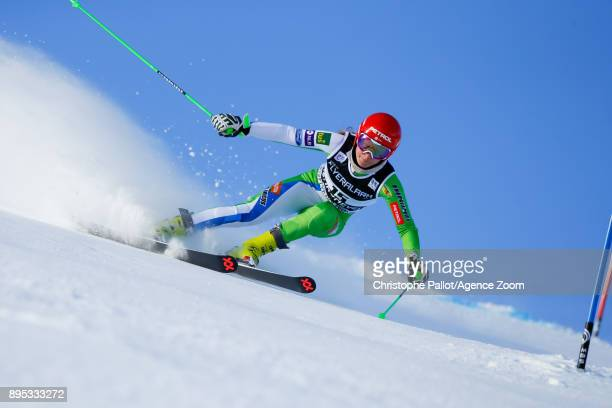 Ana Drev of Slovenia competes during the Audi FIS Alpine Ski World Cup Women's Giant Slalom on December 19 2017 in Courchevel France