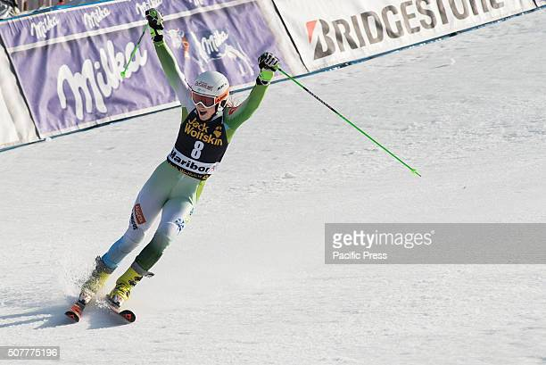 MARIBOR SLOVENIA MARIBOR SLOVENIA Ana Drev of Slovenia in the finish area celebrating her second place at the Giant Slalom race at the Golden Fox in...