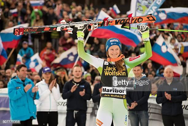 MARIBOR SLOVENIA MARIBOR SLOVENIA Ana Drev of Slovenia on podium celebrating her second place at the Giant Slalom at Golden Fox in Maribor Slovenia