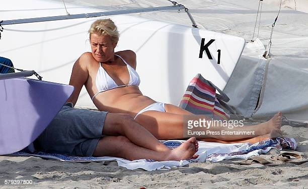 Ana Duato and Miguel Angel Bernardeau are seen on July 14 2016 in Ibiza Spain