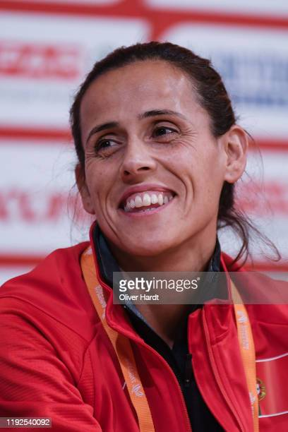 Ana Dulce Felix of Portugal speak during a press conference ahead of the European Cross Country at the Pacos do Concelho Lisbon Town Hall on December...