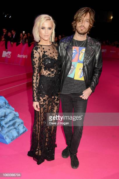 Ana Fernandez and Adrian Roma of Marlon attend the MTV EMAs 2018 at the Bilbao Exhibition Centre on November 04 2018 in Bilbao Spain
