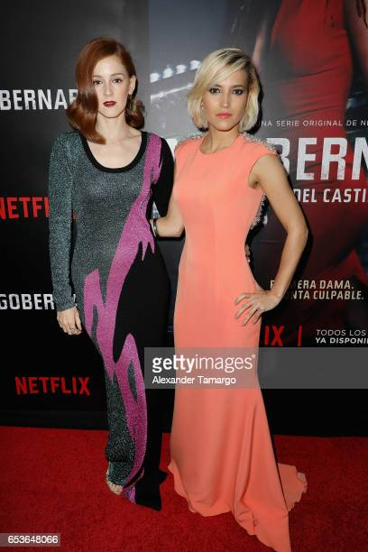 Ana Fernandez and Ana Polvorosa arrive at the Netflix Ingobernable S1 Premiere Miami Screening 2017 on March 15 2017 in Miami Beach Florida
