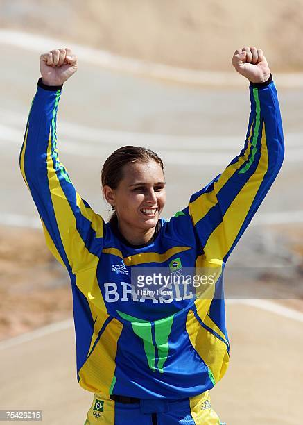 Ana Flavia of Brazil celebrates her silver medal during the Cycling BMX Women's final in the 2007 XV Pan American Games at the Outeiro Hill on July...