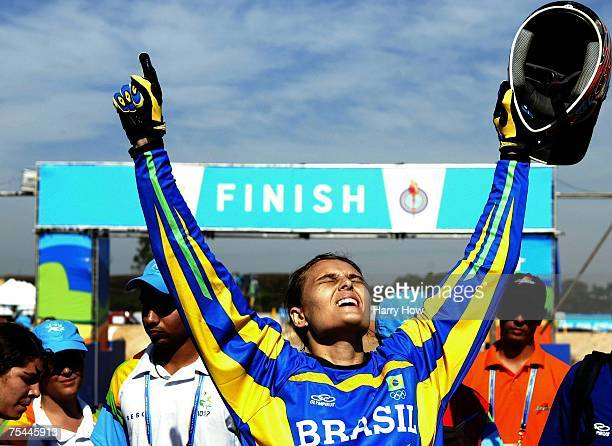 Ana Flavia of Brazil celebrates winning the silver medal during the Cycling BMX Women's final in the 2007 XV Pan American Games at the Outeiro Hill...