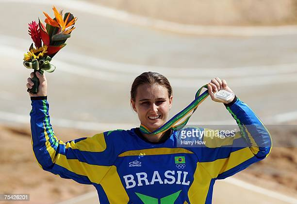 Ana Flavia of Brazil hold up her silver medal during the Cycling BMX Women's final in the 2007 XV Pan American Games at the Outeiro Hill on July 15...