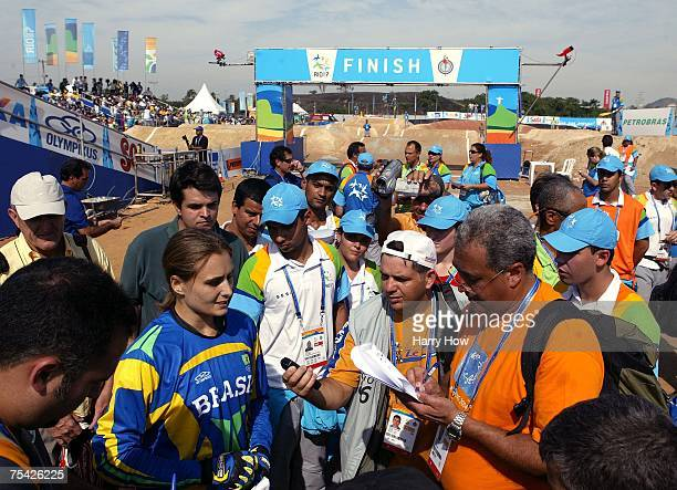 Ana Flavia of Brazil speaks to the media after her silver medal during the Cycling BMX Women's final in the 2007 XV Pan American Games at the Outeiro...