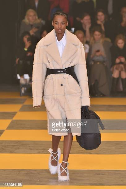 Ana Flavia walks the runway during the OffWhite show as part of the Paris Fashion Week Womenswear Fall/Winter 2019/2020 on February 28 2019 in Paris...