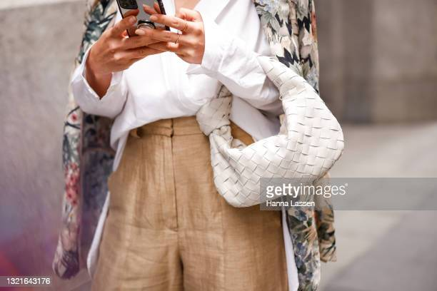 Image was created in camera using a reflective surface.) Ana Freitas wearing Caviar feeling, BV shoes, BV bag, Massimo dutti pants and Zara blouse at...
