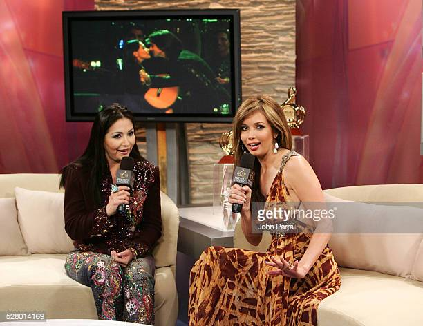 Ana Gabriel and Giselle Blondet during 2006 Premio Lo Nuestro Backstage at American Airlines Arena in Miami Florida United States