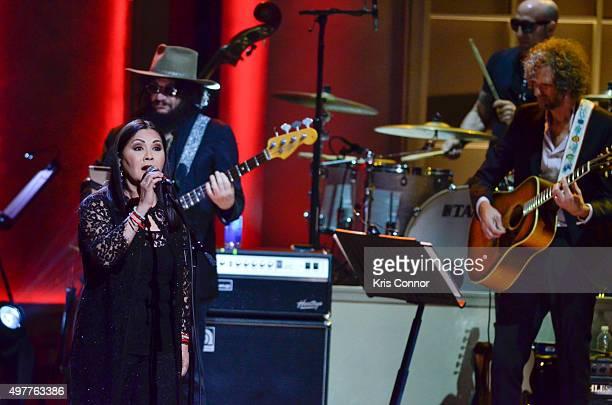 Ana Gabriel performs during the 2015 Gershwin Prize Honoree's Tribute Concert Honoring Willie Nelson at DAR Constitution Hall in Washington DC on...