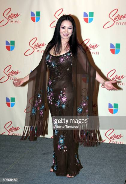 Ana Gabriel poses in the press room at the Selena Vive concert at Reliant Stadium on April 7 2005 in Houston Texas
