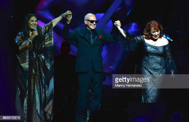 Ana Gabriel Roberto Livi and Vikki Carr at the 5th Annual Latin Songwriters Hall Of Fame's La Musa Award at James L Knight Center on October 19 2017...