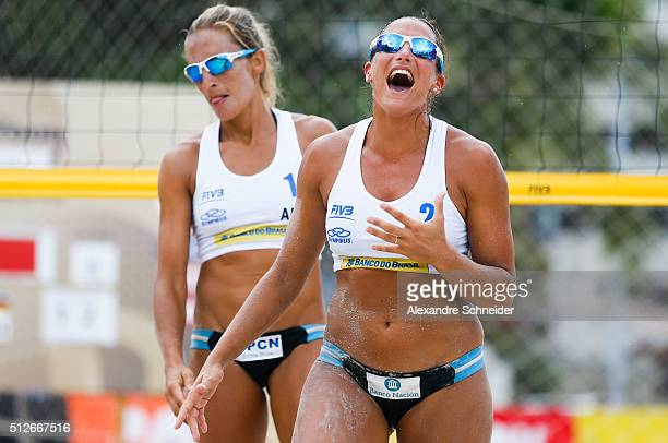 Ana Gallay of Argentina celebrates their victory after winning the quarters final match against Germany at Pajucara beach during day five of the FIVB...