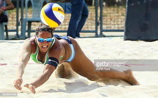Ana Gallay of Argentina digs the Mikasa during the 2nd day of the FIVB Antalya Open beach volley tournament May 11 in the Mediterranean resort city...