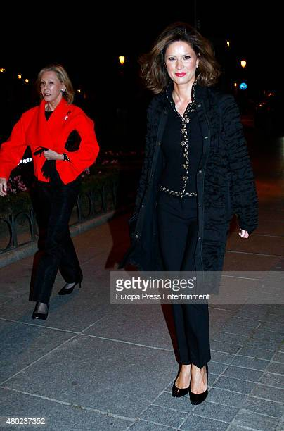 Ana Gamazo and Elena Cue attend the homage to the soprano Montserrat Caballe at Royal Theatre on December 9 2014 in Madrid Spain