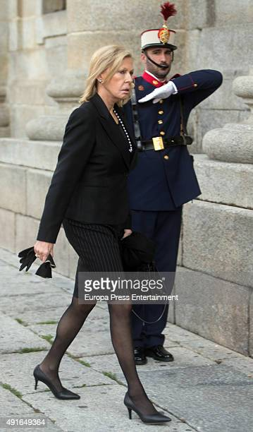 Ana Gamazo attends the funeral chapel for Carlos de Borbon Dos Sicilias second cousin of King Juan Carlos and Duke of Calabria at el Escorial on...