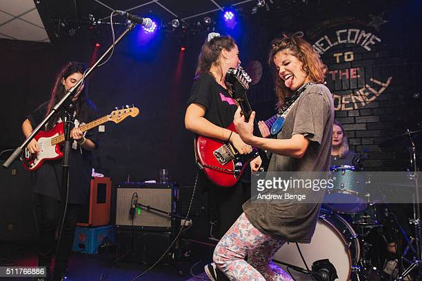 Ana Garcia and Carlotta Cosials of Hinds performs on stage at Brudenell Social Club on February 22 2016 in Leeds England