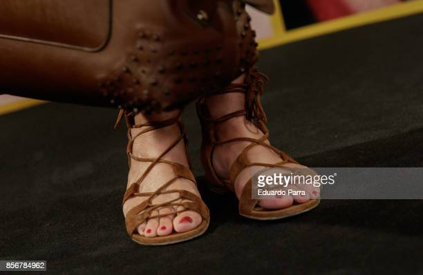 Ana Garcia Sineriz shoes detail attends the 'MAC collection' photocall at El Principito disco on October 2 2017 in Madrid Spain