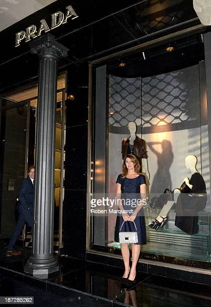 Ana GarciaSineriz poses in front of the new Prada flagship store on November 7 2013 in Barcelona Spain