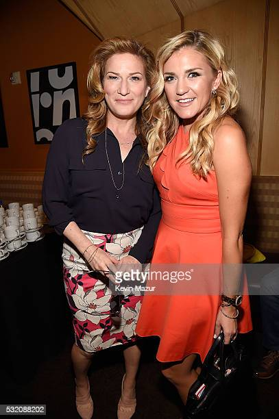 Ana Gasteyer and Jessica Lowe attend Turner Upfront 2016 green room at The Theater at Madison Square Garden on May 18 2016 in New York City