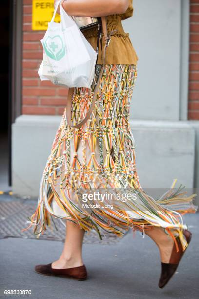 Ana Gimeno Brugada outside the Fendi show during Milan Men's Fashion Week Spring/Summer 2018 on June 19 2017 in Milan Italy