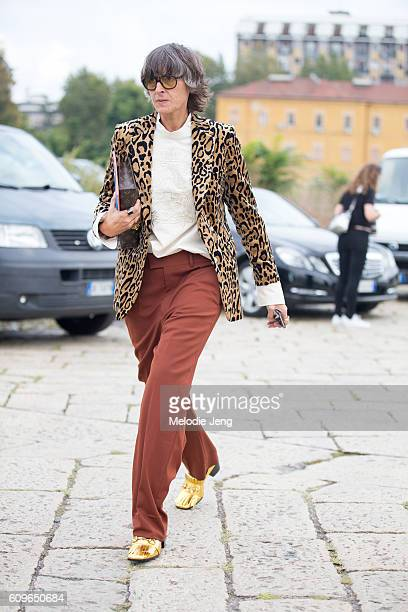Ana Gimeno Brugada wears a leopard prit blazer and Gucci outside the Gucci show during Milan Fashion Week Spring/Summer 2017 on September 21 2016 in...