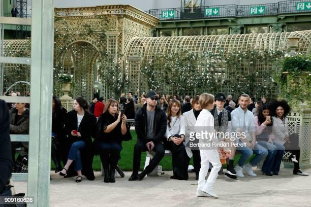 Ana Girardot Caroline de Maigret Stella Tennant guest Naomi Diaz LisaKainde Diaz watching Godson of Karl Lagerfeld Hudson Kroenig walks the runway at...