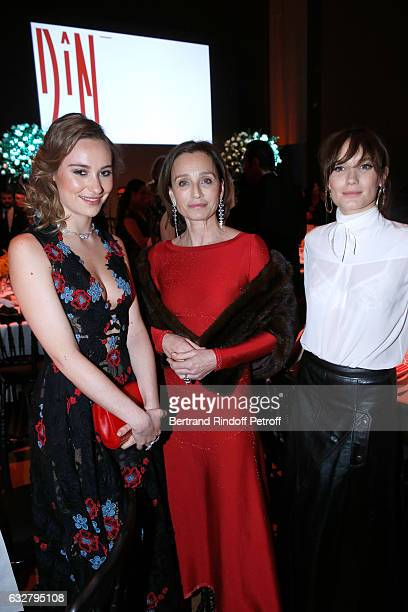 Ana Girardot Kristin Scott Thomas and Deborah Francois attend the Sidaction Gala Dinner 2017 Haute Couture Spring Summer 2017 show as part of Paris...