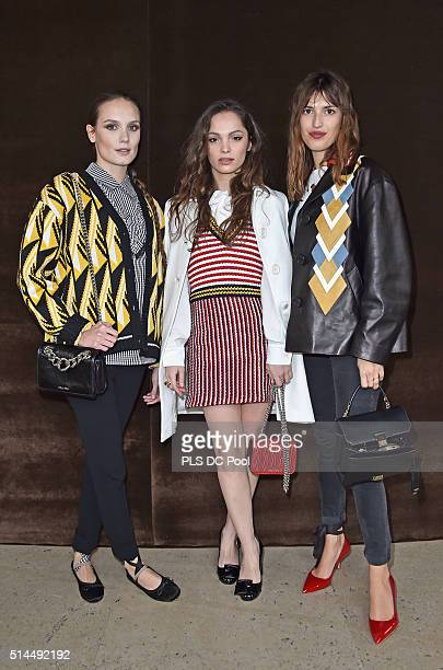 Ana Girardot, Lola Le Lann and Jeanne Damas attend the Miu Miu show as part of the Paris Fashion Week Womenswear Fall / Winter 2016 on March 9, 2016...